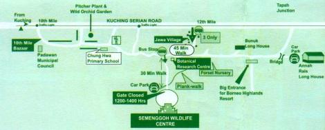 Peta Arah ke Semenggoh Wild-life center